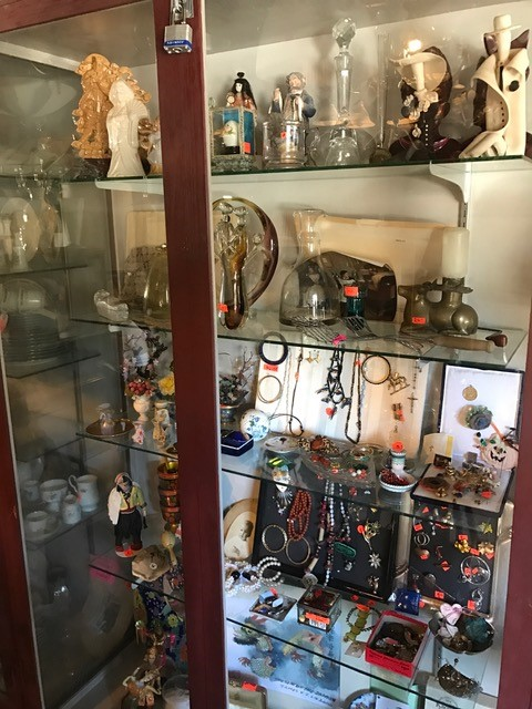 Display cabinet filled with treasures
