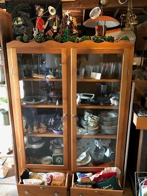 Display case filled with treasures